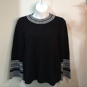 Black Crew Neck Sweater with White Detailing